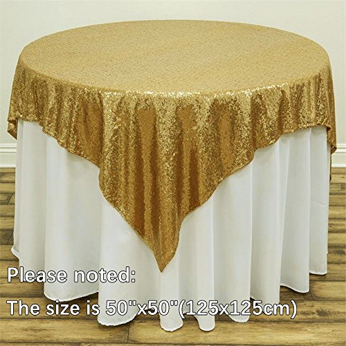 B-COOL Sequin Tablecloth Champagne Blush 50inchx50inch Sparkly Sequin Tablecloth for Halloween Thanksgiving Day Wedding Party Curtain Birthday Christmas New Year and Other Event Decor
