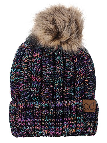 C.C Thick Cable Knit Faux Fuzzy Fur Pom Fleece...