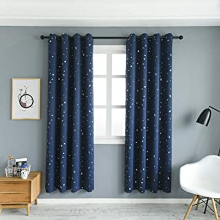 MANGATA CASA 2 Panels Blackout Curtains with Night Sky Twinkle Star for Kids Room,Thermal Insulated Grommet Bedroom Drapes (Navy,52x84in)
