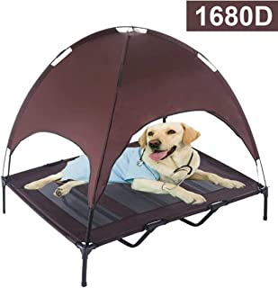 """RELIANCER 30""""/ 36""""/ 48"""" Elevated Dog Cot with Canopy Shade 1680D Oxford Fabric Outdoor Pet Cat Cooling Bed Tent w/Convenient Carrying Bag Indoor Sturdy Steel Frame Portable for Camping Beach"""