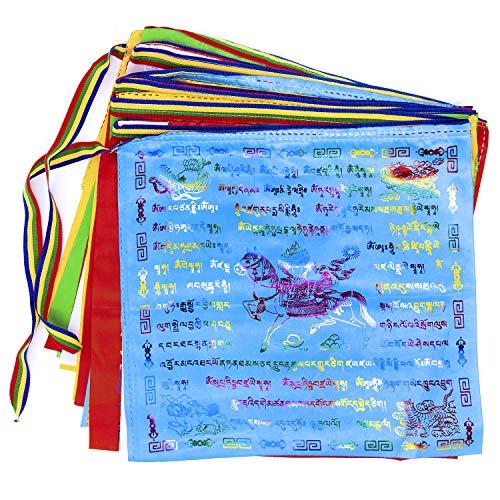 Prayer Flags 10 PCS Tibetan Prayer Flags Outdoor Buddhist Prayer Flag 13.4 X 13.4 inch Large Wind Horse Lungta Prayer Flags