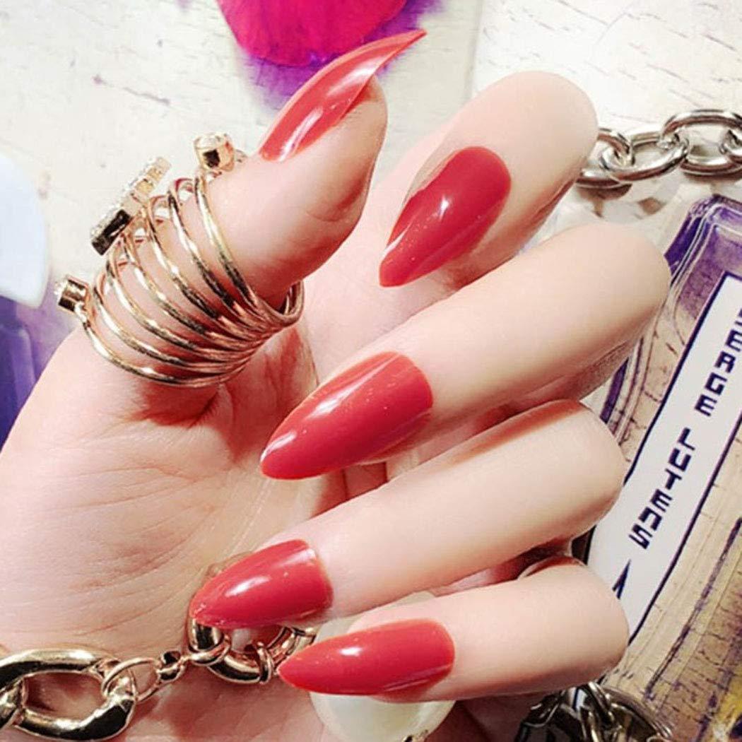 Sethexy 24pcs Different Ranking TOP16 Solid Color Bri Nails Max 75% OFF Sharp False Glossy