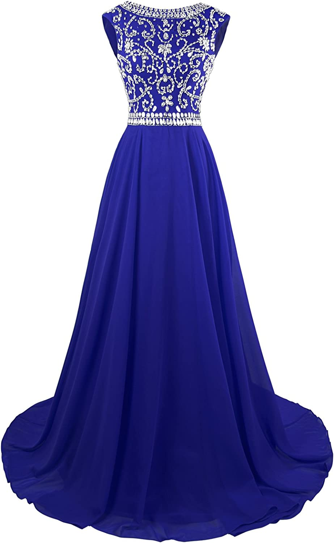 MsJune Women's Cap Sleeves Beaded Long Prom Gowns
