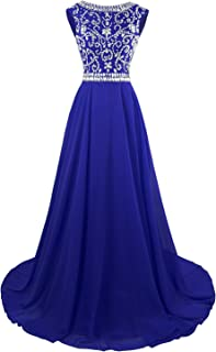Long Prom Dresses Cap Sleeves Bridesmaid Wedding Guest Gowns Beaded 2019