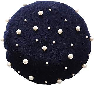 Clenp Sombrero De Boina Para Mujer, Moda Para Mujer, Otoño Invierno, Color Sólido, Boina De Perlas De Imitación, Gorro Cál...