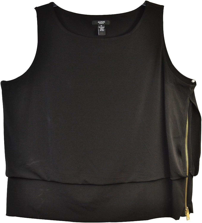 Alfani Plus Size Tiered Side Zip Tank Top Black 1x
