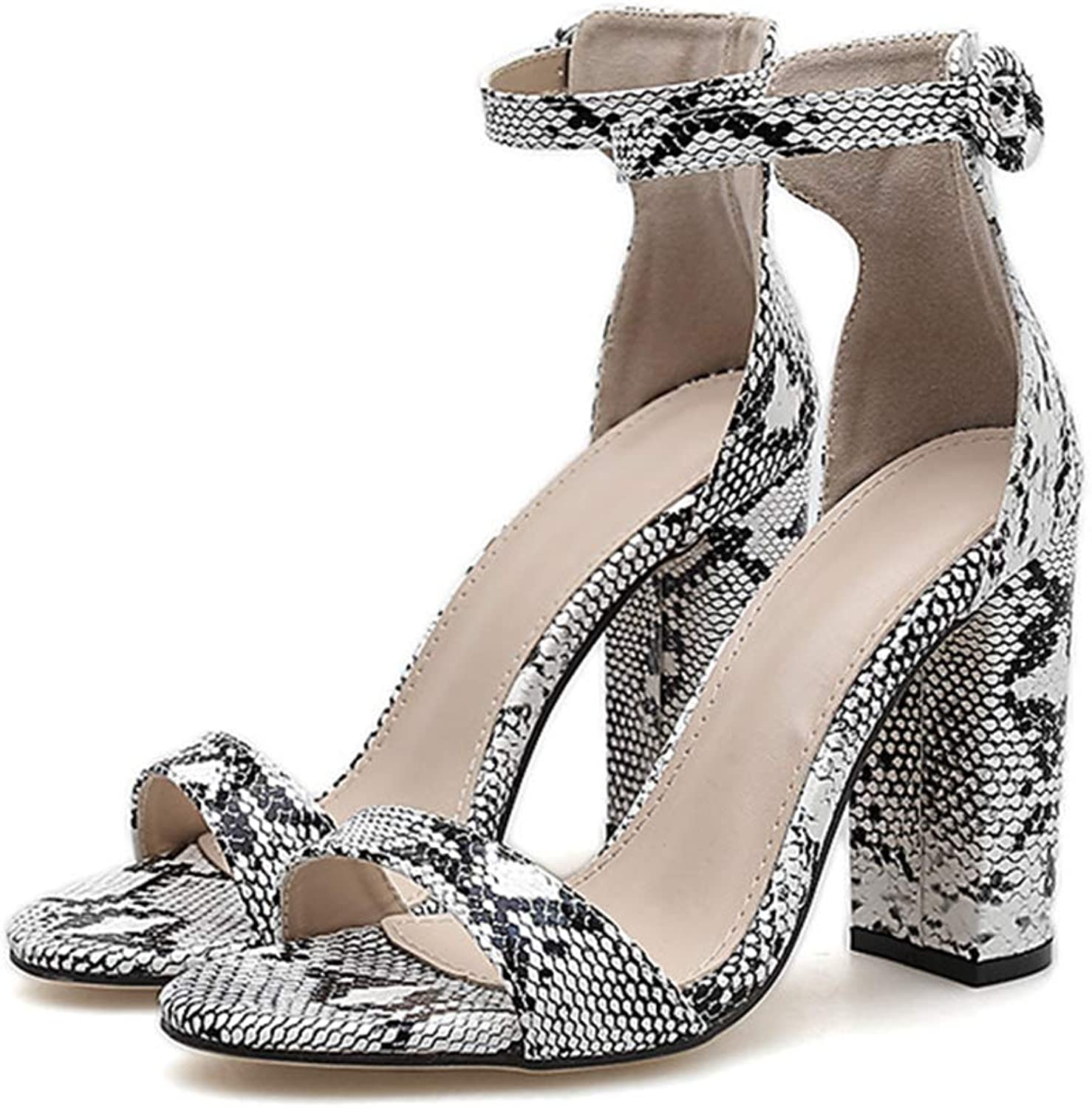 XDLEX Women's Snakeskin Print Strappy Heeled Sandals Open Toe Ankle Buckle Strap Stiletto Wrap-Around Strap Cover Heel Chunky Block Thick Heel Cutout shoes