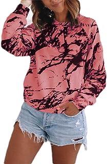 UUYUK Women's Tie Dye Print Crewneck Sweatshirt Long Sleeve Loose Pullover T-Shirt