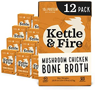 Sponsored Ad - Mushroom Chicken Bone Broth by Kettle and Fire, Pack of 12, Keto Diet, Paleo Friendly, Whole 30 Approved, G...