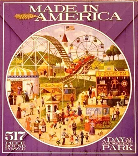 Ceaco Made in America Series Round Puzzle, A Day At the Amusement Park, 517 Pcs,  2351-6 by Ceaco