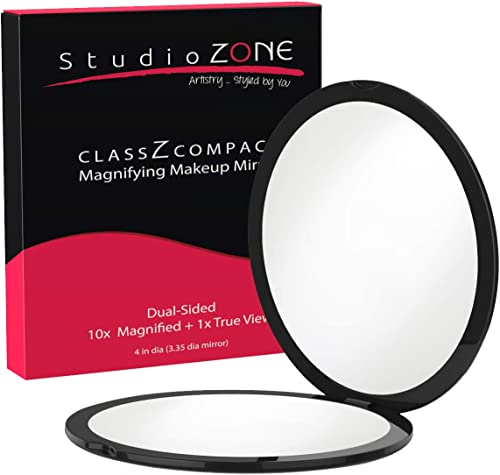 StudioZONE Compact Mirror 10X Magnifying Makeup Mirror Perfect For Purses Travel 2Sided With 10X Magnifying Mirror An...