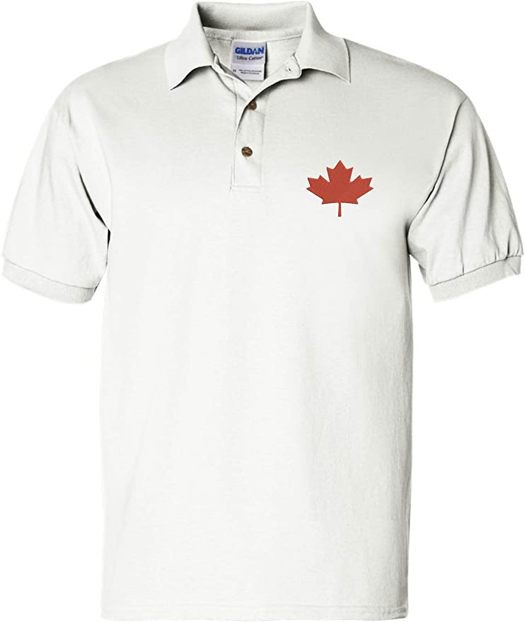 Allntrends Mens Polo T Shirt Embroidery Canada Flag Embroidered Canadian Tee