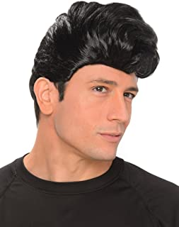 50s Greaser Wig - Halloween Mens Rock and Roll Hair Costume Accessory, Black