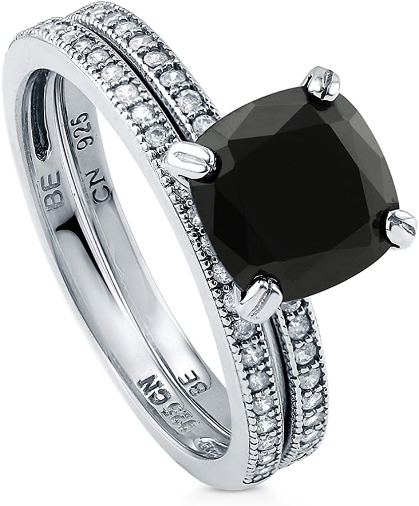 BERRICLE Rhodium Plated Sterling Silver Cut 店舗 正規逆輸入品 Cubic Black Cushion