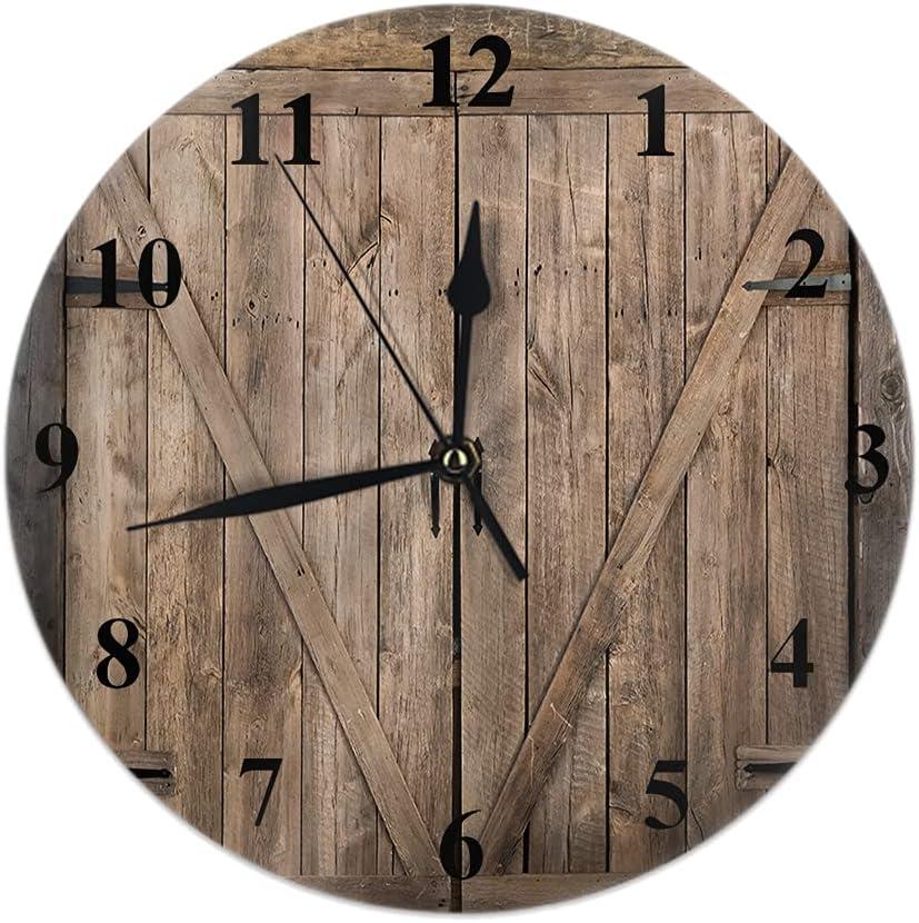 Max 62% OFF WONDERTIFY Barn Door Max 47% OFF Wall Clock Wooden Farmhouse Ranch Do Rustic