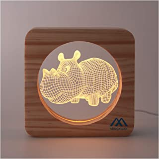 Creative Girls Decorative Night Light Hippo 3D Illusion Effects USB Cable Manual Button Switch Warm White Light Living Room Bedroom Baby Room Decor Light bobys Kids Childs Christmas Birthday Gifts