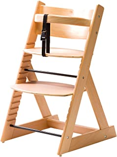 【笑顔のプレミアムベビーチェア】6か月頃~大人まで 安心強度の三角形ベース マジカルチェア 赤ちゃん用木製椅子 安全ベルト付きダイニングチェアー ナチュラル 1:チェアー