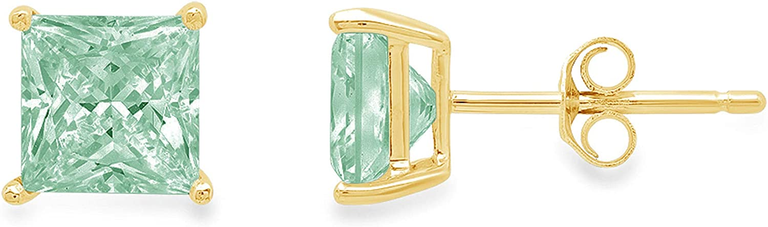 2.1ct Brilliant Princess Cut Solitaire Ideal Natural Genuine Swiss Blue Topaz Gemstone Pair of Stud Designer Earrings Solid 18k Yellow Gold Butterfly Push Back