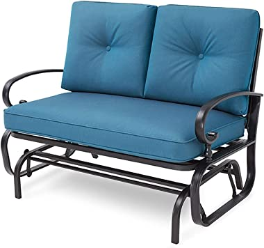 Incbruce Outdoor Swing Glider Rocking Chair Patio Bench for 2 Person, Garden Loveseat Seating Patio Steel Frame Chair Set wit