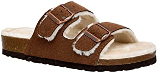 CUSHIONAIRE Women's Lane Cozy Cork Footbed Sandal with Faux Fur Lining and +Comfort