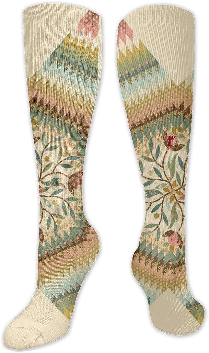 Flower Geometric Texture Knee High Socks Leg Warmer Dresses Long Boot Stockings For Womens Cosplay Daily Wear