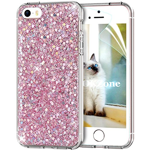 OKZone Funda iPhone SE Carcasa Purpurina,Funda iPhone 5/5S, Cárcasa Brilla Glitter Brillante TPU Silicona Teléfono Smartphone Funda Móvil Case para Apple iPhone 5/iPhone 5S/iPhone SE (Rosado)
