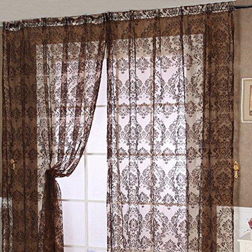 Lembeauty 2Platten Retro Fenster Screening Vorhang Fall mit Beflockung Muster Floral Voile Tüll für Schlafzimmer Badezimmer Wohnzimmer (99,1x 198,1cm/Panel)