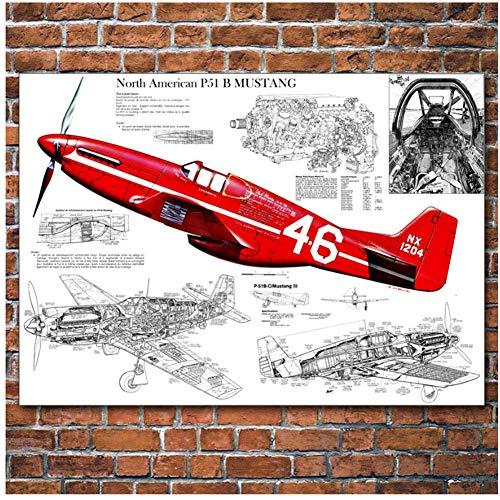 Militaire Noord-Amerikaanse P-51 Mustang Vintage Vliegtuigen Muurkunst Foto Posters en Prints Canvas Art Schilderijen voor Home Decor -60x90cm Geen Frame