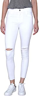 James Jeans Women's Mid Waisted Skinny Ankle Length Jeans Twiggy in Fresh White Raw Hem