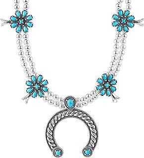 American West Sterling Silver Sleeping Beauty Gemstone Naja Pendant Necklace 18 Inch