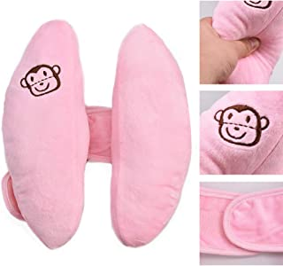 Angzhili Adjustable Baby Car Seat Stroller Safety Pillow,Soft Head Neck Support, Banana U-Shape Children Travel Headrest Head Protection Pillow (Pink)