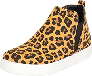 Cambridge Select Women's High Top Lasercut Peforated Stretch Slip-On Platform Fashion Sneaker