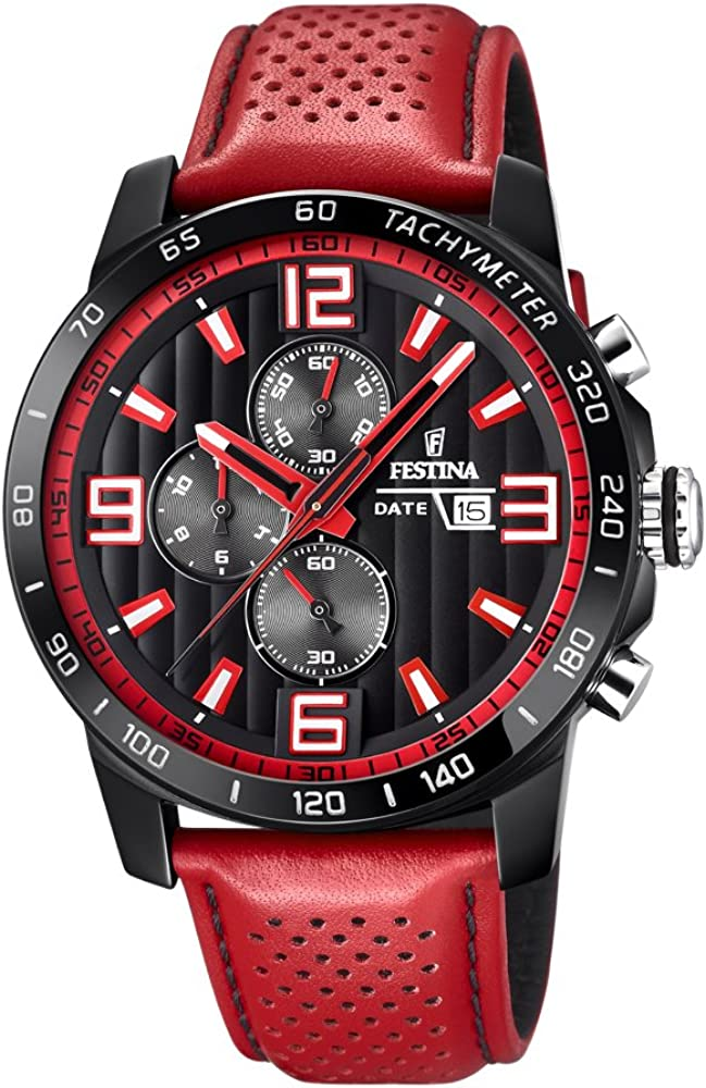 Festina orologio cronografo da uomo con cassa in acciaio Inossidabile e cinturino in vera pelle F20339/5