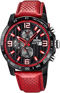 Festina 'The Originals Collection' Men's Quartz Watch with Black Dial Chronograph Display and Red Leather Strap F20339/5
