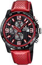Festina `The Originals Collection` Men`s Quartz Watch with Black Dial Chronograph Display and Red Leather Strap F20339/5