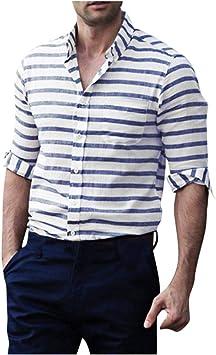 Jfhrfged Camisas de hombre Casual abotonadas de manga larga a ...
