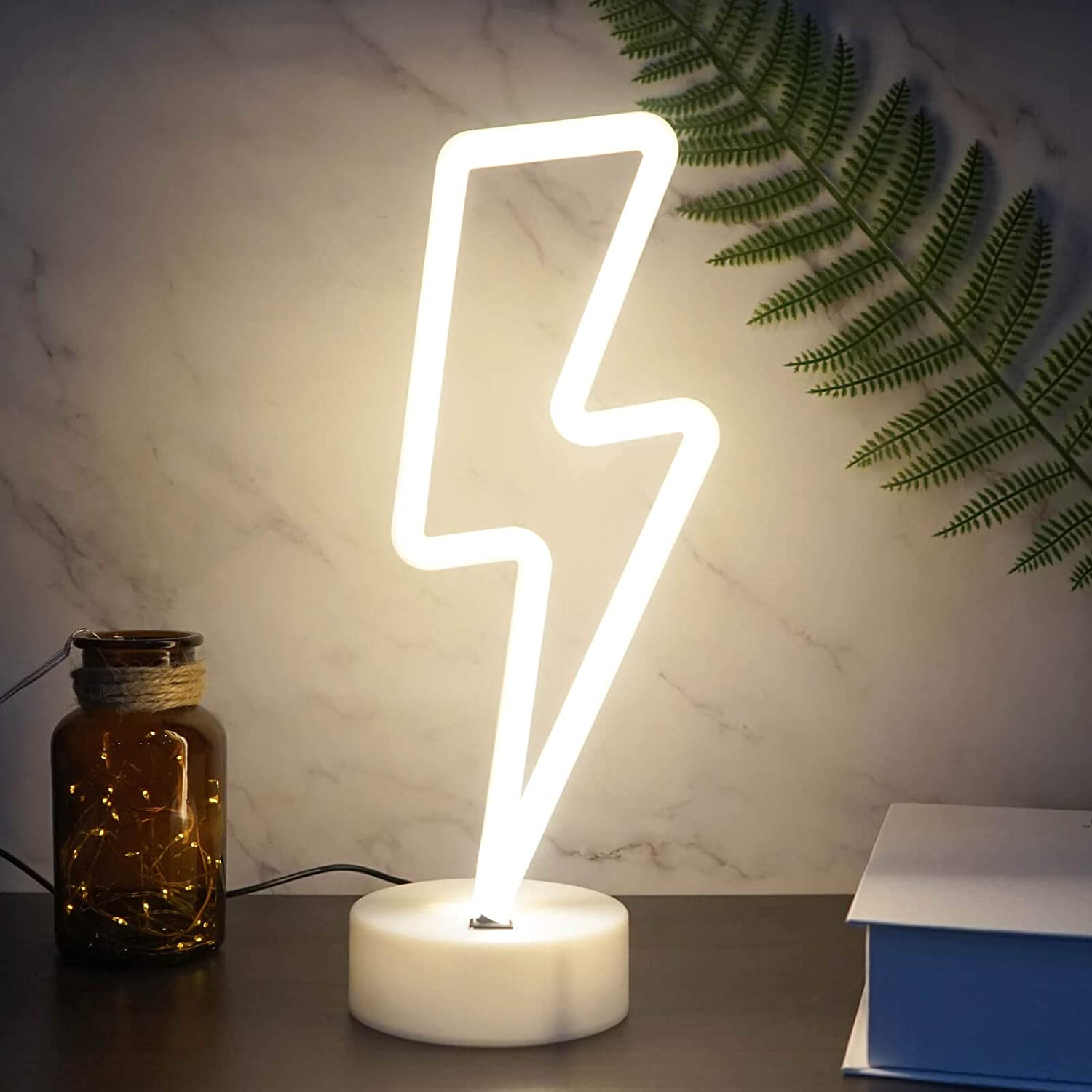 YIVIYAR LED Neon Light Sign, Lightning Bolt Neon Sign with Holder, USB/Battery Operated Neon Signs for Wall Decor LED Signs for Bedroom Decorations Game Room Decor for Men (Warm White Lightning)
