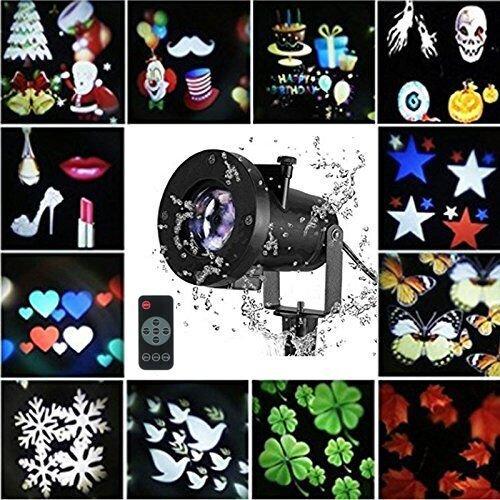 Luces del Proyector de Navidad, Proyector de Paisaje LED Lámpara Impermeable con 12pcs Diapositivas Reemplazables del Copo de Nieve Imágenes Decoración de Interior al Aire Libre para año Nuevo, Fiesta