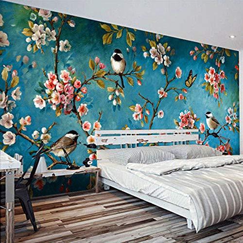 Papel pintado fotográfico 3D, diseño de flores chinas, diseño de pájaros, para dormitorio, sala de estar, diseño floral 3D, 200 (ancho) x 140 (alto) cm