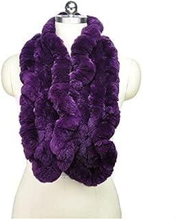 Women's Real Rex Rabbit Fur Scarf Natural Fur Flower Brim Ruffled Winter Long Wraps Soft Warm Furry Neckerchief