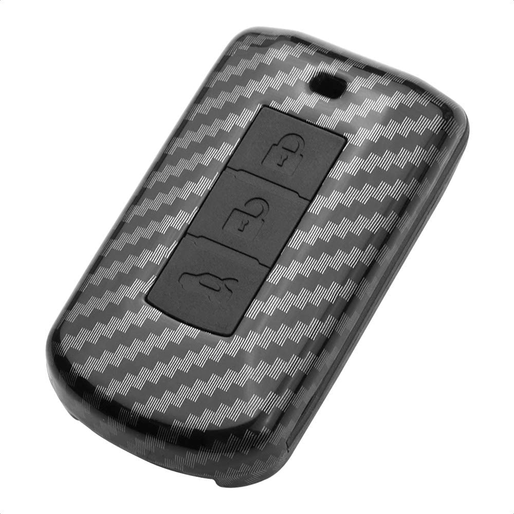 TANGSEN Smart Key Fob Case for MITSUBISHI LANCER MIRAGE OUTLANDER SPORT 2 3 4 Button Keyless Entry Remote Personalized Protective Cover Plastic Carbon Fiber Pattern Black Silicone