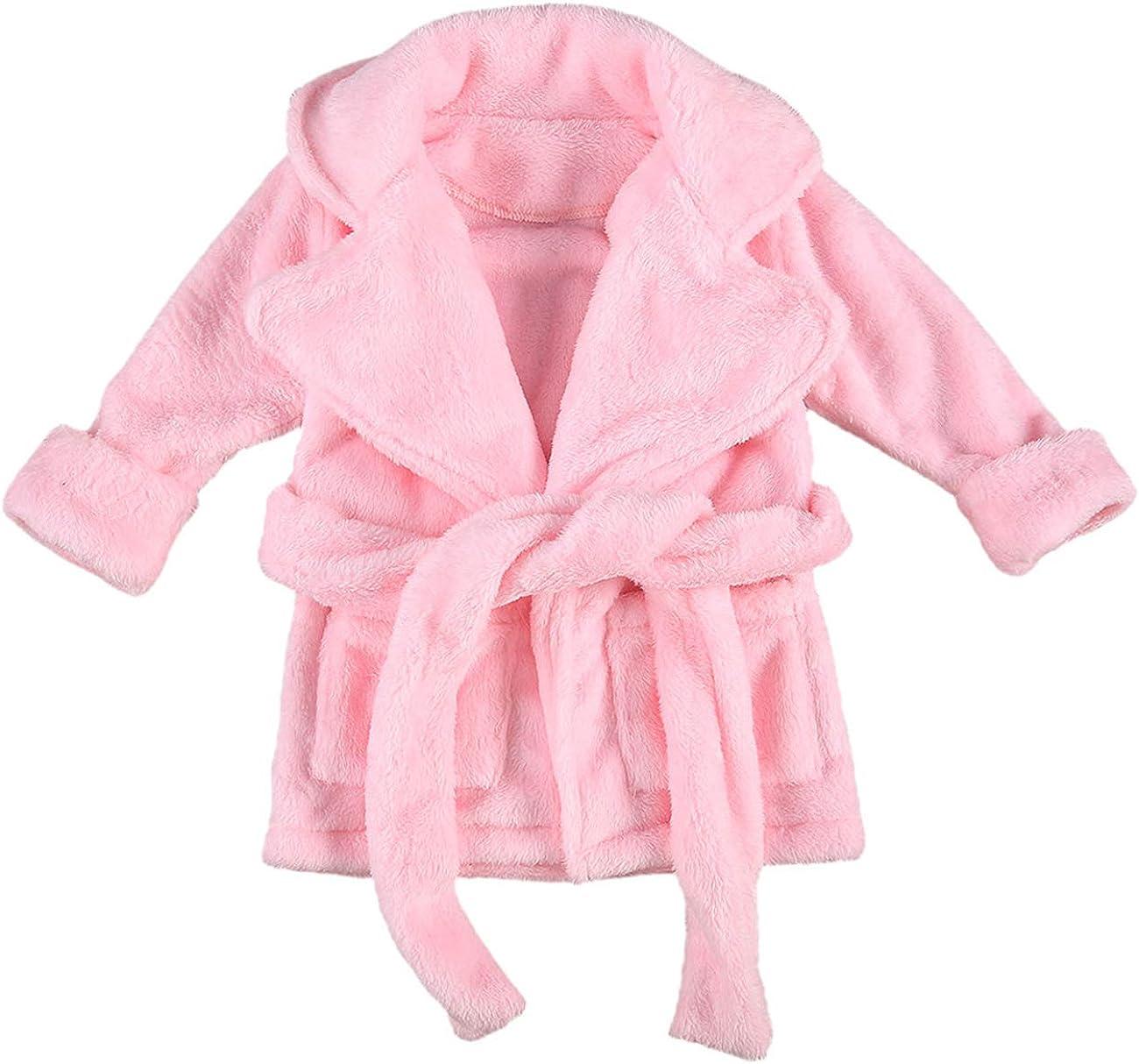 Unisex Baby Plush Bathrobe Plain Kimono Gir Max 41% Tucson Mall OFF Toddler Gown Newborn