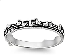 Prime Jewelry Collection Sterling Silver Women's Musical Chorus Music Note Ring (Sizes 4-10)