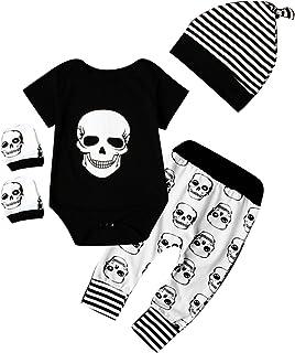 puseky Stramplerset f&uumlr neugeborene Babys, Jungen, M&aumldchen, mit Hosen, Hut, und Handschuh im Totenkopfstil.