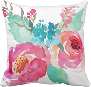 Emvency Throw Pillow Cover Watercolor Peonies Pink Turquoise Summer Bouquet Decorative Pillow Case Girly Home Decor Square 18 x 18 Inch Cushion Pillowcase