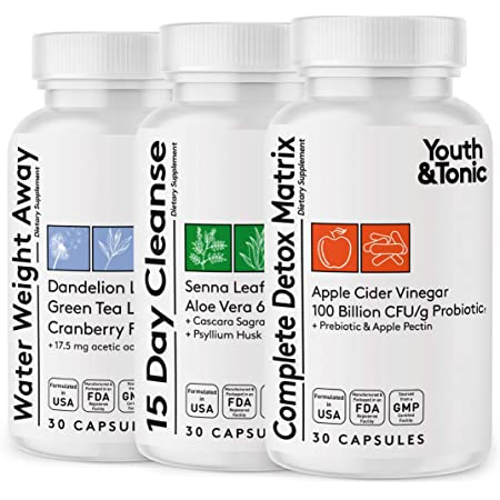 3pk Detox Cleanse Kick Off Weight Management   Colon Cleanser + Water Loss Pills w Dandelion + ACV Full Body Detox + Probiotics   Flat Stomach & Waist Line Reduction Restart Metabolism Bloating Relief
