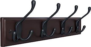 SONGMICS 壁取り付けコートラック フックラック 3フック4個付き 衣類 鍵 帽子 財布 玄関 バスルーム クローゼットルーム ダークブラウン ULHR30Z