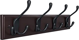 SONGMICS Wall Mounted Coat 16 Inch Rail Rack with 4 Tri-Hooks for Entryway Bathroom Closet Room, Dark Brown ULHR30Z