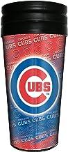 كوب حراري معدني ثلاثي الأبعاد مطبوع عليه شعار فريق شيكاغو كابس بدوري كرة القاعدة الرئيسي، 473 مل