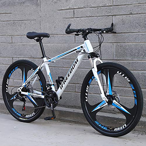 XQY Mountain Bike 27.5 Inch Wheel High Carbon Steel Leisure Off-Road Vehicle 30-Speed Gear Double Disc Brake Off-Road Vehicle,Blue